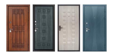 Set of models of entrance metal doors (isolated) Fototapete
