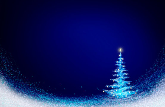 Christmas tree isolated on blue. Christmas background.