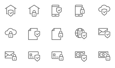 Security and Protection Vector Line Icons Set. Contains Global Security, Data Protection and more. Editable Stroke. 48x48 Pixel Perfect.