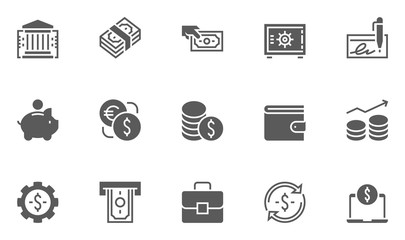 Finance and Banking Vector Line Icons Set . Contains Coins, Money and Bank Management icons.