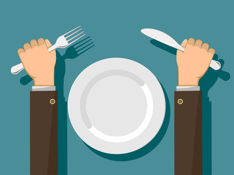 Fork and knife in hands and a white empty plate.