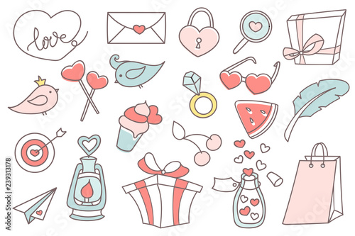 Valentines Day doodle set  Collection of romantic objects in outline