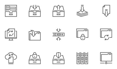 Archive and Folders Vector Line Icons Set. Contains Repository, Sync, Storage of Documents and more. Editable Stroke. 48x48 Pixel Perfect.