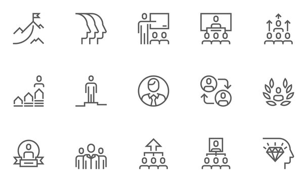Leadership and Corporate Management Vector Line Icons Set. Collaboration, Career Growth, Striving for Victory, Winner. Editable Stroke. 48x48 Pixel Perfect.