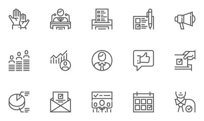 Voting and Elections Line Icons Set. Ballot Box, The Ranking of Candidates, Election Campaign. Editable Stroke. 48x48 Pixel Perfect.