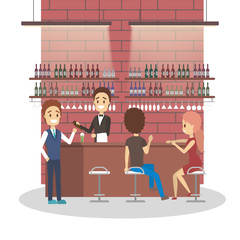 Bar or cafe with the alcohol drinks.