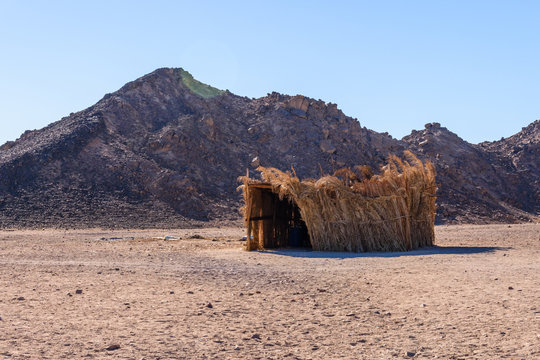 Bedouin building of palm twigs in a desert not far from Hurghada city, Egypt