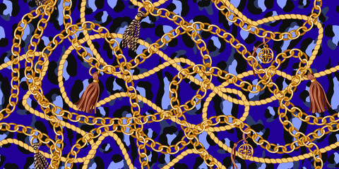 Trendy seamless pattern with gold chains and rope on blue leopard skin. Vector.