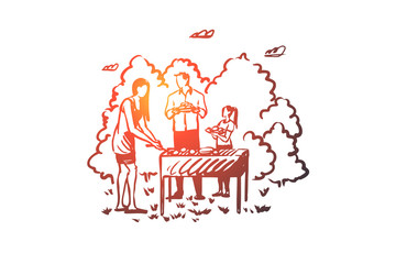 Barbecue, family, grill, bbq, food concept. Hand drawn isolated vector.