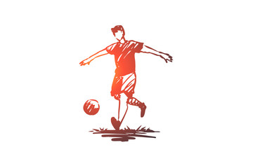 Soccer, player, football, game, action concept. Hand drawn isolated vector.