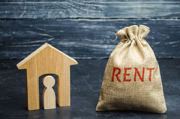 A bag with money and the word Rent and a house with a tenant inside. The accumulation of money to pay rental housing. Rental apartment. Saving money. Renting a house. Renter