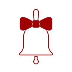 Sign Christmas bell. Isolated red icon on white background. Vector illustration