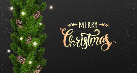 Merry Christmas Typographical on black background with garland of tree branches decorated with stars, lights, snowflakes. Xmas and New Year theme. Vector Illustration