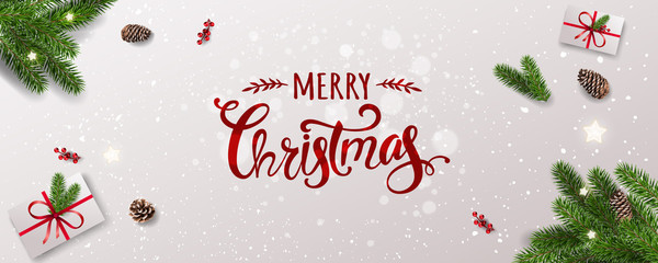 Merry Christmas Typographical on white background with tree branches, berries, gift boxes, stars, pine cones. Xmas and New Year theme. Vector Illustration