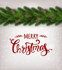 Merry Christmas text on white shiny background with garland of Christmas tree branches,  snowflakes, stars. Xmas and New Year card. Vector Illustration