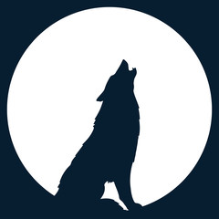 Wall Mural - Silhouette of wolf howling at the full moon vector illustration