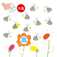 Kids Finger Drawing Paper Play Bee Picture