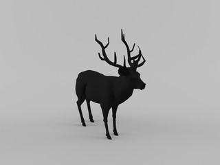 Abstract 3D Rendering Black Deer With Clean Background