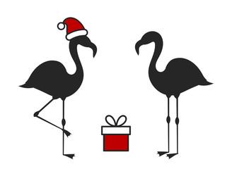 Two Christmas flamingo birds, Santa hat and present.