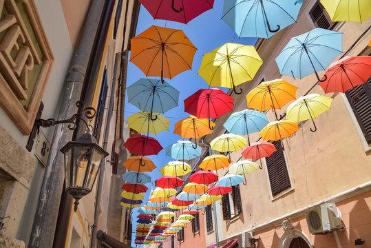 bunte Schirme in Novigrad / Kroatien