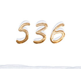 Gold Number 536 with Snow on white background