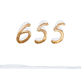 Gold Number 655 with Snow on white background