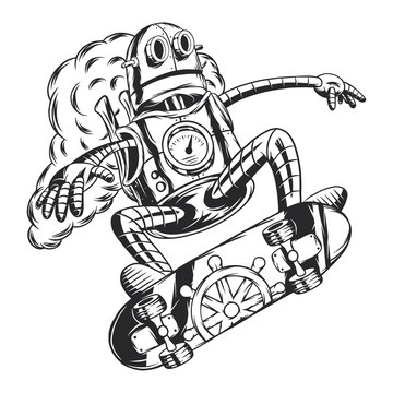 Steampunk robot riding on skateboard. Isolated on white background.