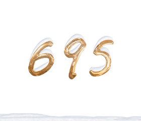 Gold Number 695 with Snow on white background