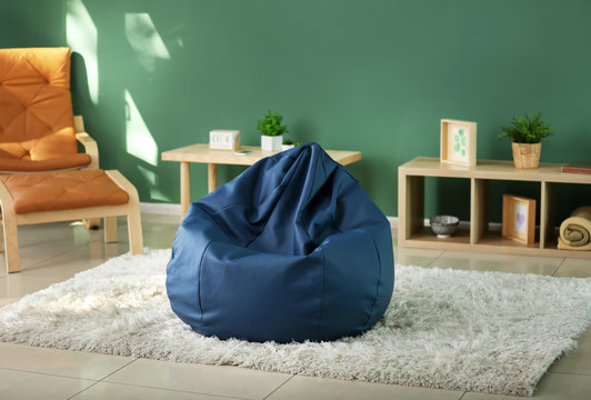 Beanbag chair in interior of room