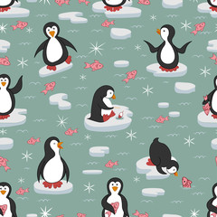 Seamless pattern. Penguins on the ice floes. Pink fish swim around. The color of the ocean is gray-green. The ice floes are light gray. Vector illustration.