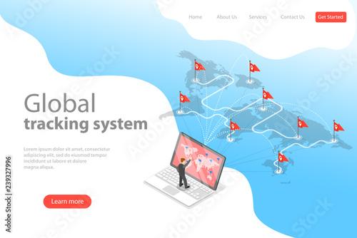 Isometric flat vector landing page template of worldwide