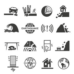Earthquake tsunami disaster and destruction black icon set