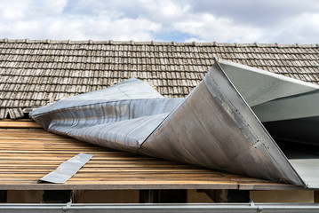 Metal roof top demolished by a strong wind