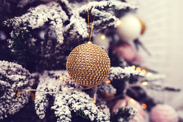 Christmas background - balls and branch of spruce tree