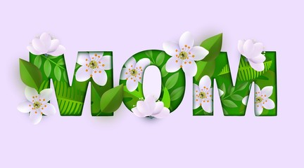 Vector mom inscription with green leaves, abstract white flowers on pink background for happy mothers day greeting card, store, shop advertising, poster template or discounts campaign illustration