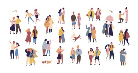 Wall Mural - Bundle of couples dressed in seasonal clothes walking on street. Collection of men and women in love during romantic date isolated on white background. Flat cartoon colorful vector illustration.