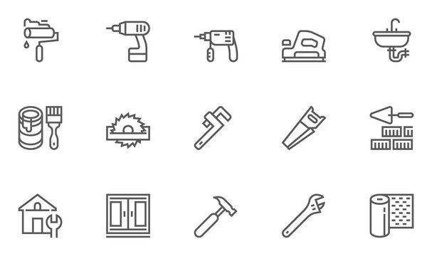 Construction, Building, Home Repair And Tools Vector Line Icons Set. Plumbing, Electrical, Windows, Building And Home Improvement. Editable Stroke. 48x48 Pixel Perfect.