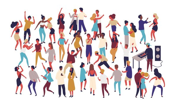 Crowd of tiny people dancing on dance floor at night club isolated on white background. Happy of men and women having fun at party or music festival. Colored vector illustration in flat cartoon style.