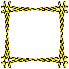Vector Yellow and Black Dangerous Ribbons Frame Isolated on White Background, Colorful Border.