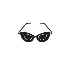 Cat eye glasses black vector concept icon. Cat eye glasses flat illustration, sign, symbol
