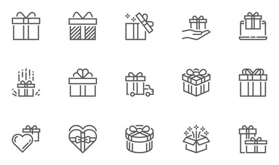 Gift and Surprise Vector Line Icons Set. Gift Box Tied with Ribbon and Decorated with a Bow. Editable Stroke. 48x48 Pixel Perfect.