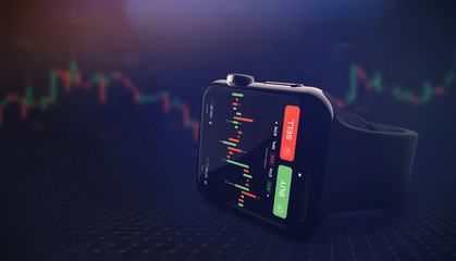 Modern stock exchange scene with smart watch, chart and BUY and SELL options (3D illustration)