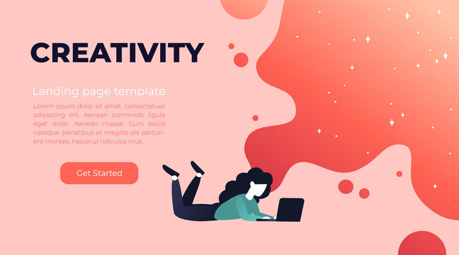 Vector living coral gradient illustration of creativity in Internet. Website design concept with bright colorful splash. Landing page template with young girl and laptop.