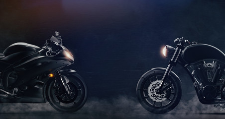 Sports and classic black motorcycles facing each other on dark background with smoke (3D illustration) Wall mural