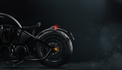 Rear black motorcycle detail on dark background with smoke (3D illustration)