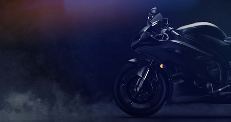 Black modern sports motorcycle front part detail on dark background with smoke (3D illustration)