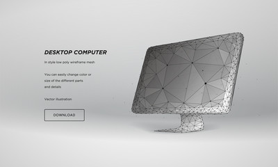 3d computer monitor abstract for concept design. Abstract geometric background. Low poly design. 3d technology style. Vector illustration network. Website design. 3d isometric design. Plexus particle