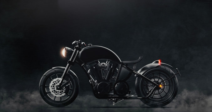 Black classic motorcycle on dark background with smoke (3D illustration)