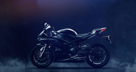 Black modern sports motorcycle on dark background with smoke (3D illustration)