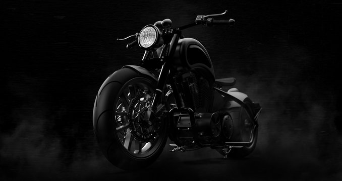 Black motorcycle on a dark background with smoke (3D illustration)